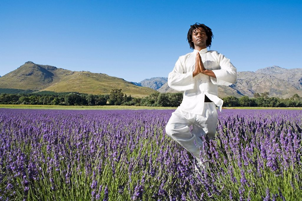 Stock Photo: 1896R-1918 Man doing exercises in lavender field, mountains in background, Franschhoek, Western Cape Province, South Africa