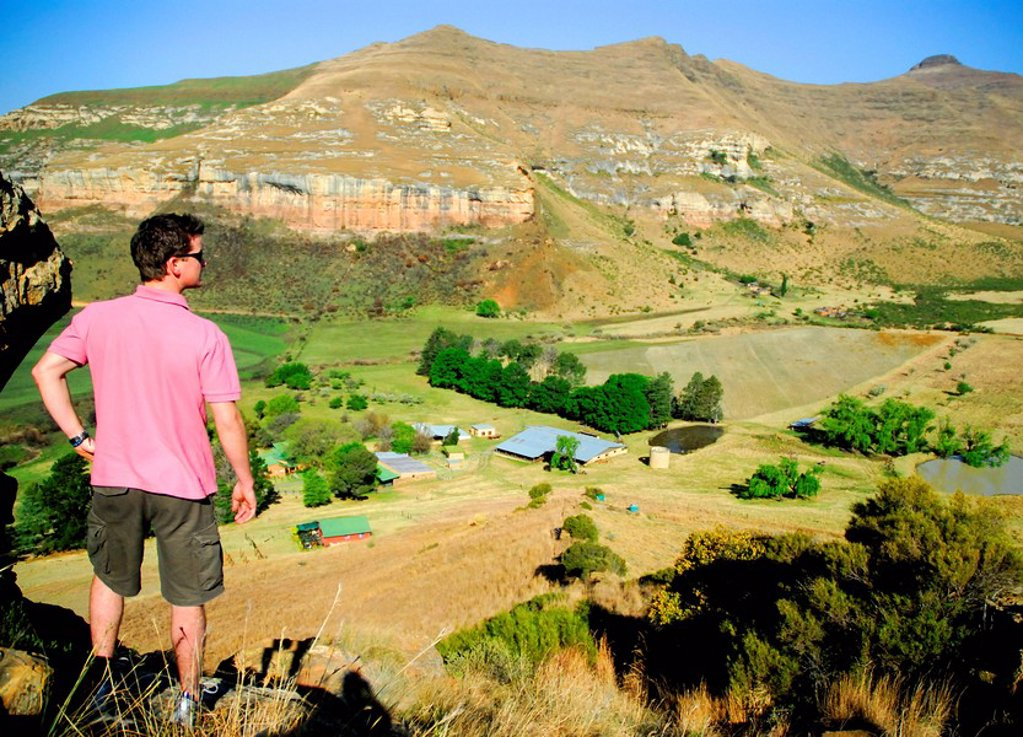 Man Standing & Looking at View Down Below  Clarence, Freestate Province, South Africa : Stock Photo
