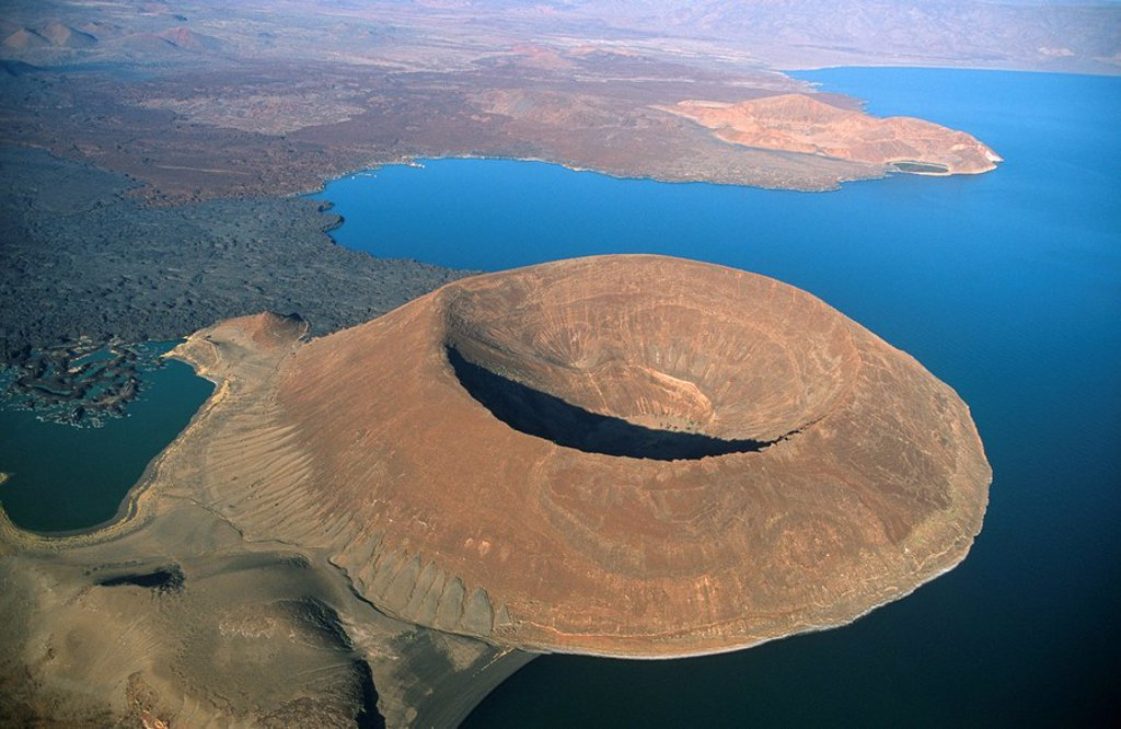 Aerial View of Navbiotum Volcano  Lake Turkana, Kenya : Stock Photo