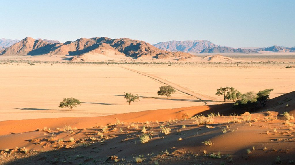Stock Photo: 1896R-3225 View Of Arid Sandy Lanscape with Mountains in Background  Elim Dunes, Namibia, Southern Africa
