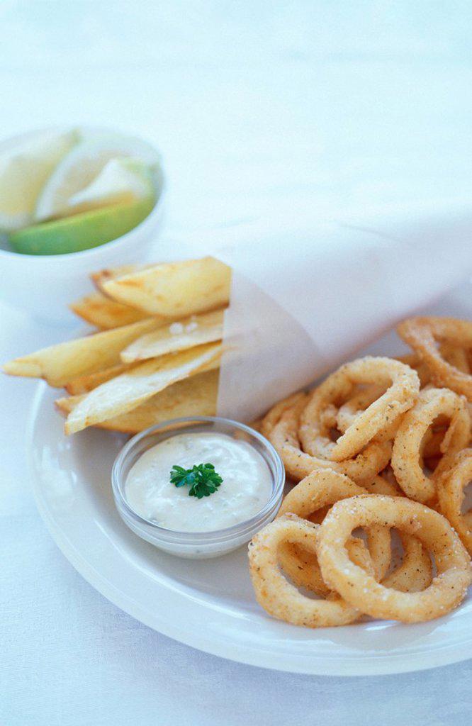 Deep-fried Calamari & Chips  Studio Shot : Stock Photo