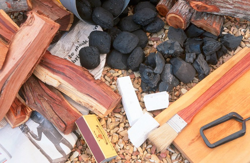Stock Photo: 1896R-3718 Fire Starting Paraphernalia,From the left: Camel Thorn,Charcoal,Firelighters,Basting Brush,Tongs and Rooikrans  Studio Shot