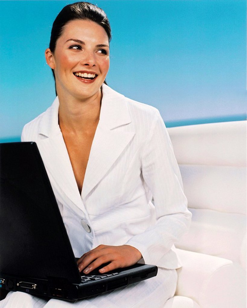 Young Caucasian Woman on a Laptop Computer  Cape Town, Western Cape Province, South Africa : Stock Photo