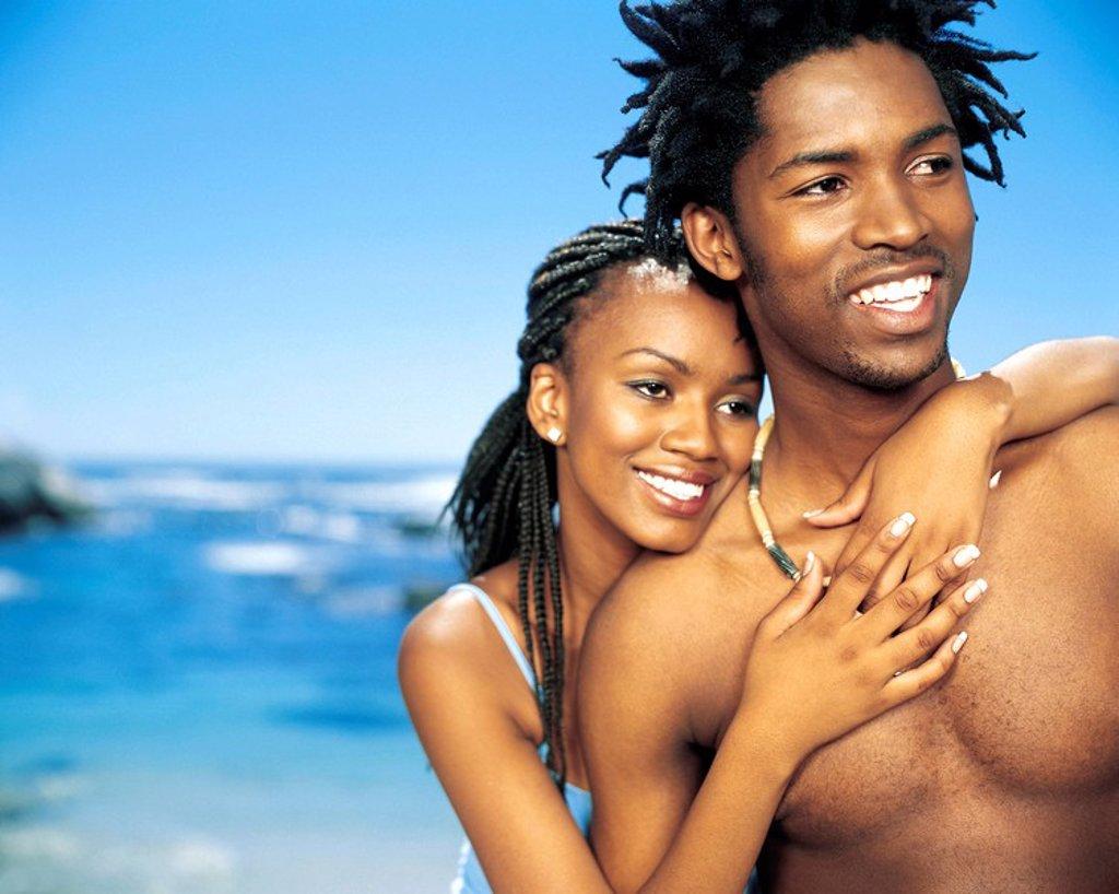 Young African Couple on the Beach  Cape Town, Western Cape Province, South Africa : Stock Photo
