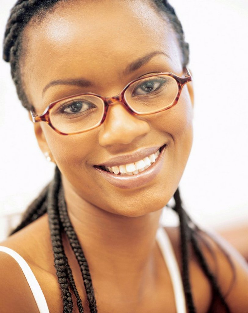 Portrait of an African Woman Wearning Glasses  Cape Town, Western Cape Province, South Africa : Stock Photo
