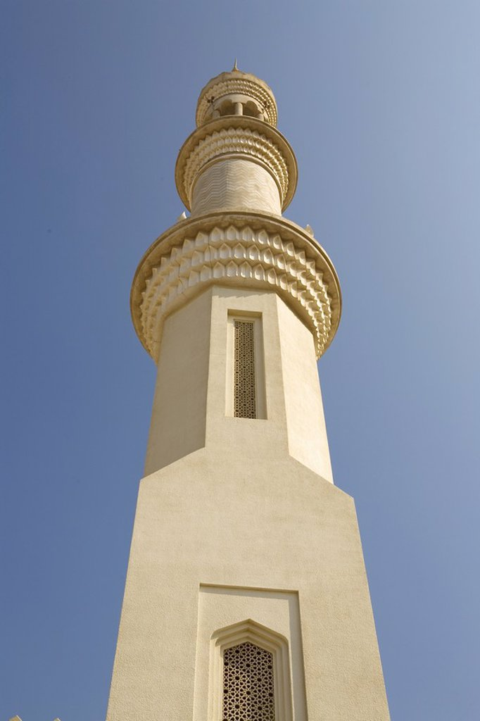 Minaret, King Faisal Mosque, low angle view, Sharjah, UAE  United Arab Emirates : Stock Photo
