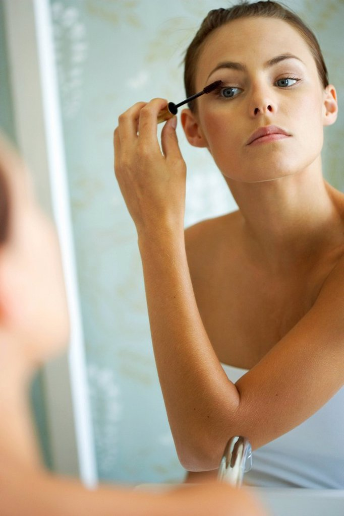 Woman Applying Make-Up  Cape Town, Western Cape Province, South Africa : Stock Photo