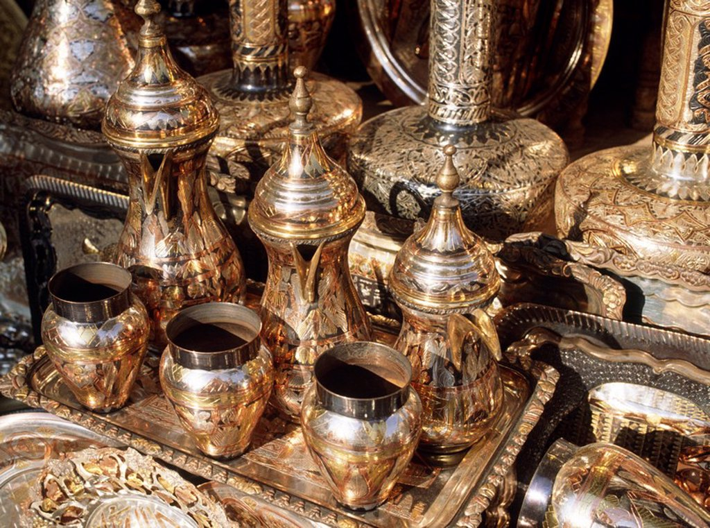 Stock Photo: 1896R-6150 Close-up of Brass and Copper Goods in El khalili Bazaar  Cairo, Egypt