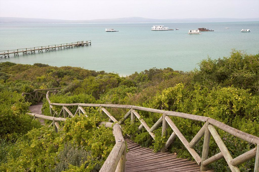 Stock Photo: 1896R-8179 Boardwalk to jetty, West Coast National Park, Western Cape Province, South Africa