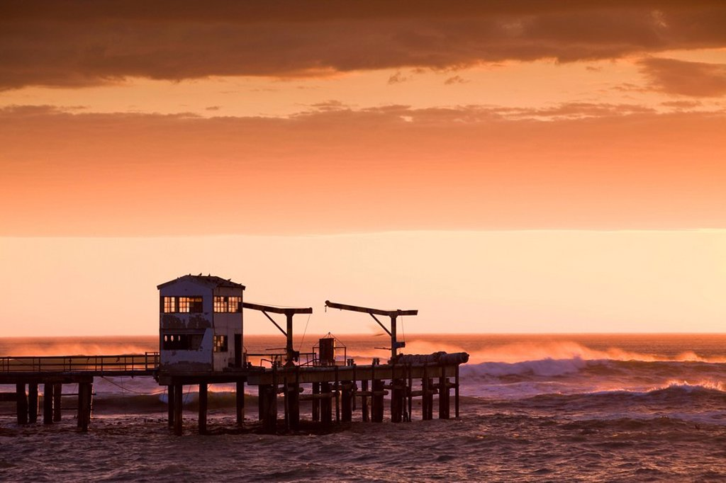 Stock Photo: 1896R-8454 Old harbor pier being battered by stormy sea, Doring Bay, Western Cape Province, South Africa