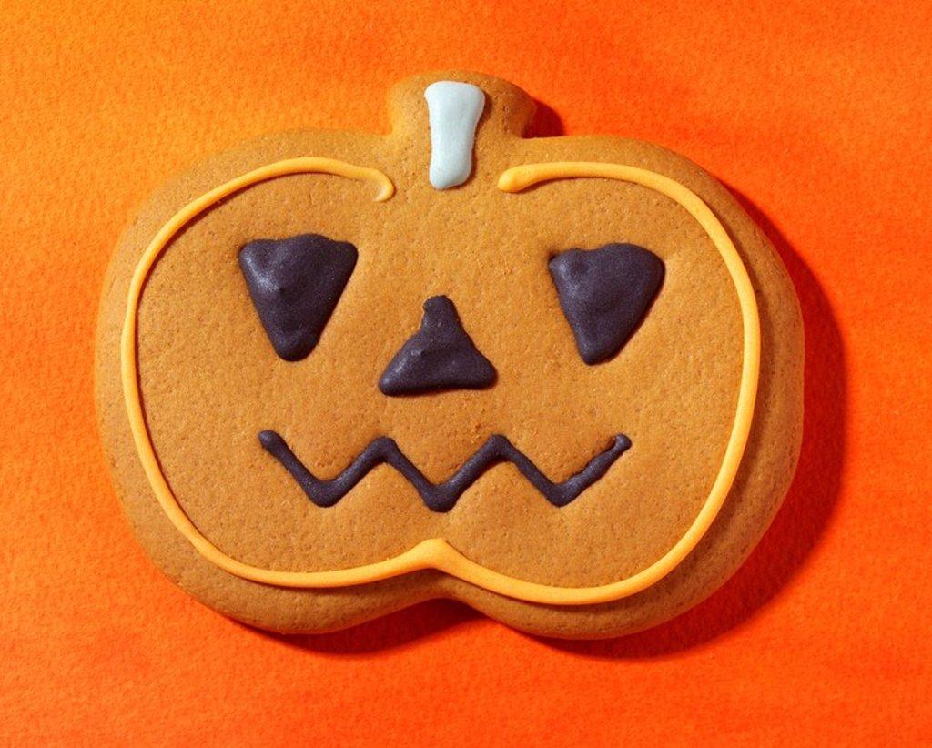 Halloween Pumpkin Biscuit Or Cookie : Stock Photo