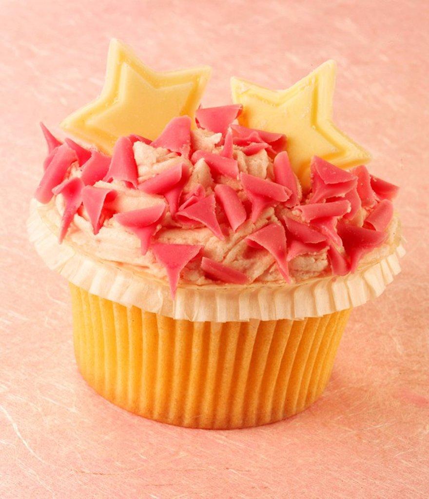 Pink Star Cupcake : Stock Photo