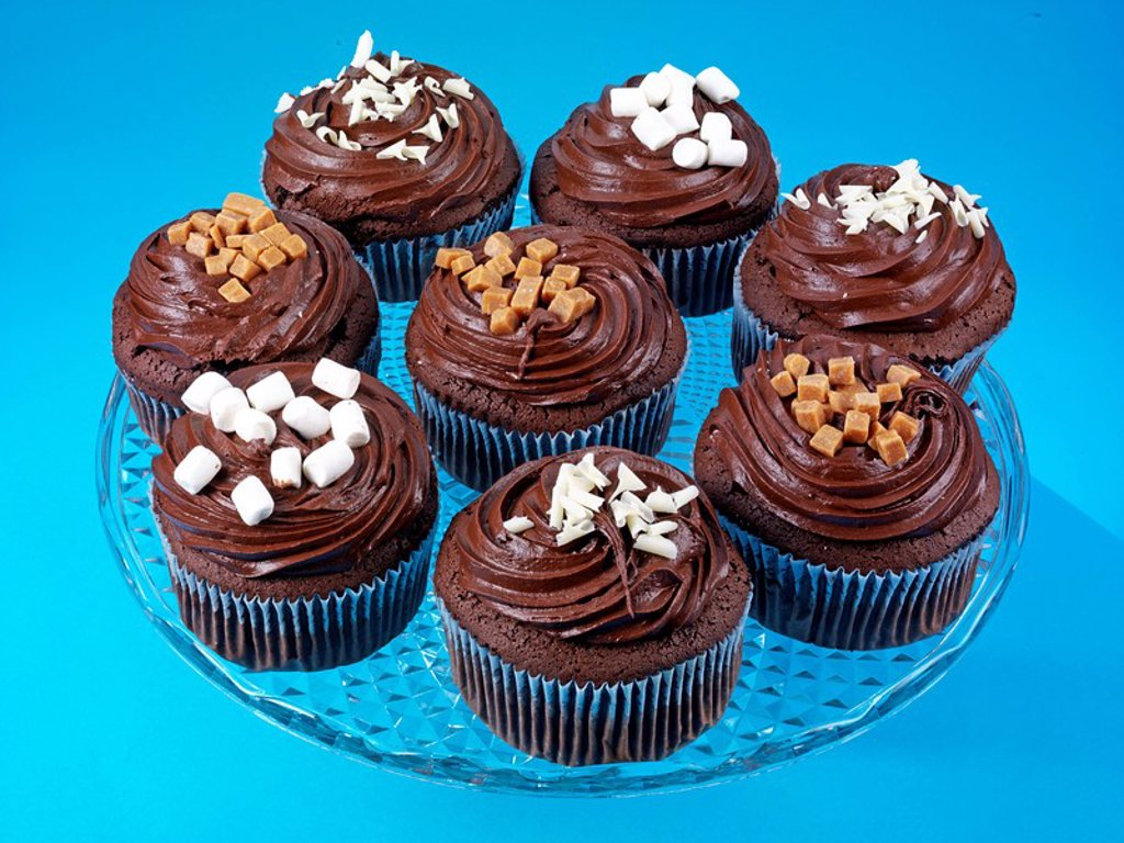 Plate Of Chocolate Frosted Cupcakes Or Muffins : Stock Photo