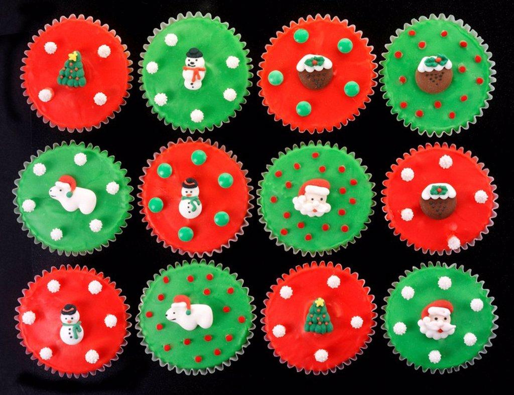 Christmas Cupcakes Overhead : Stock Photo