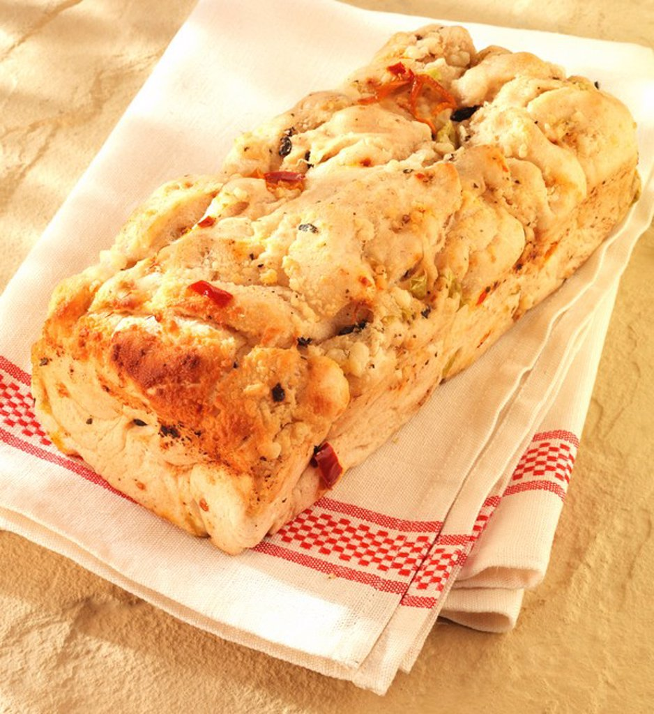 Stock Photo: 1898-14744 Mediterranean Olive And Tomato Bread,Focaccia