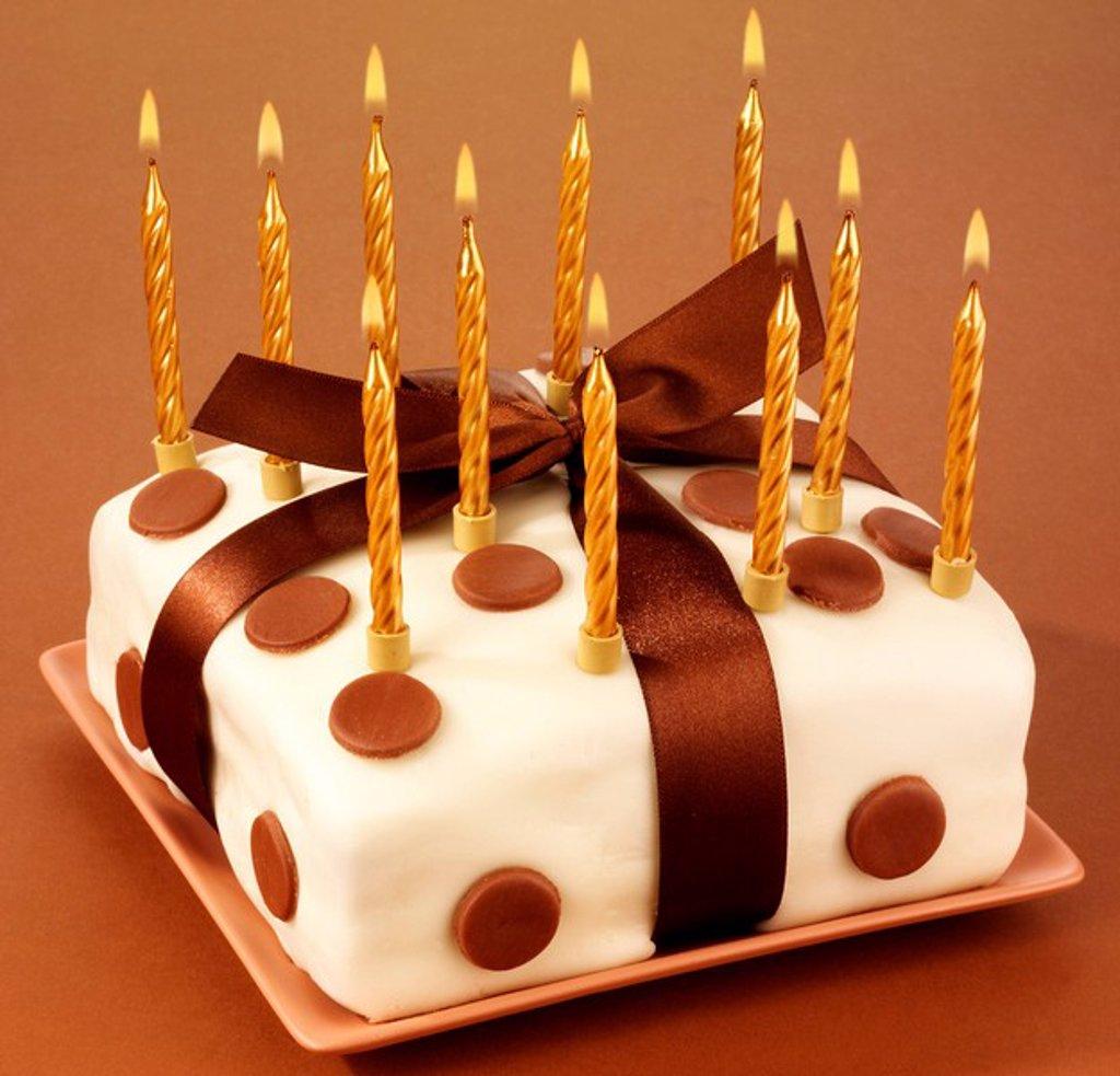 Iced Chocolate Polka Dot Cake : Stock Photo