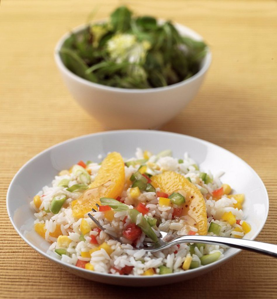 Stock Photo: 1898-15775 Rice and Vegetables with Rocket