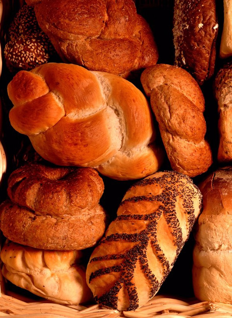 Bread loaves and rolls from a baker : Stock Photo