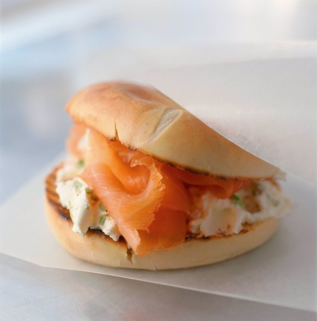 Smoked Salmon and Cream Cheese Bagel : Stock Photo