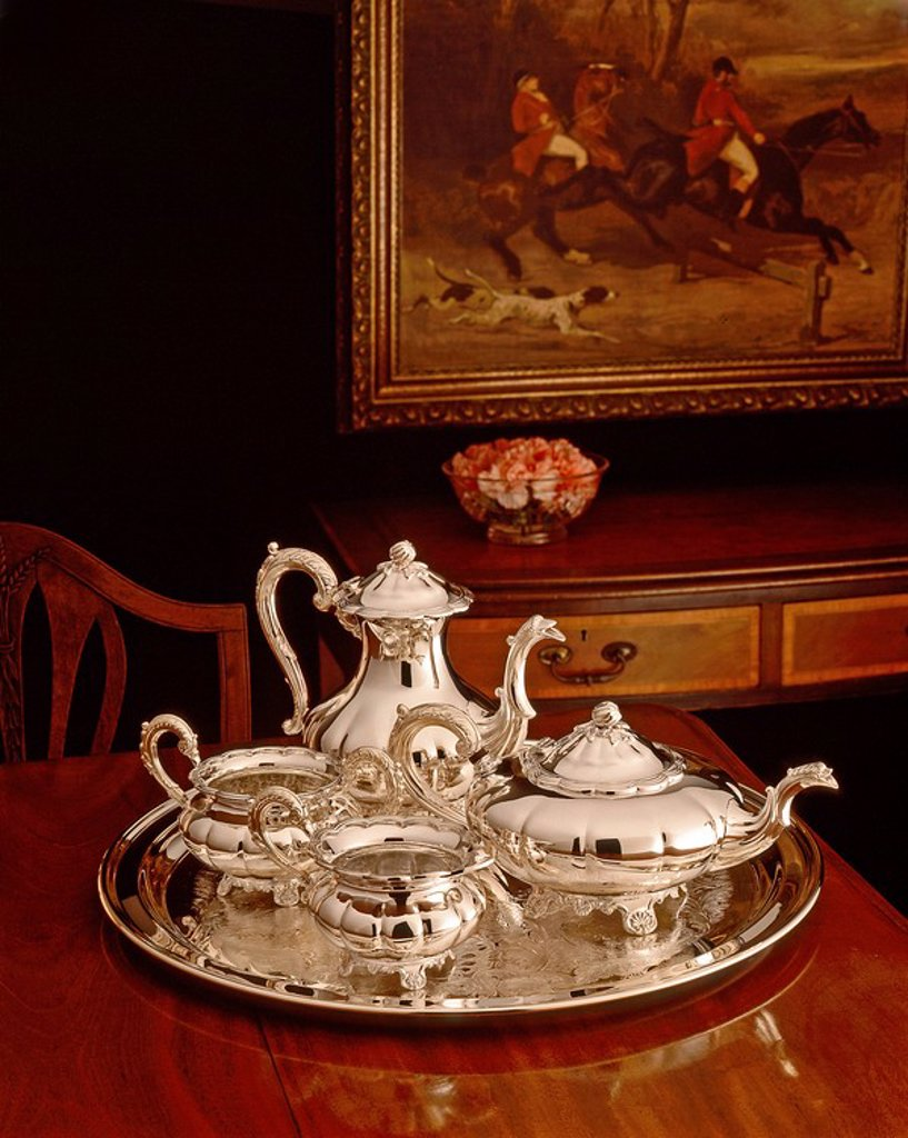 Silver tea service : Stock Photo
