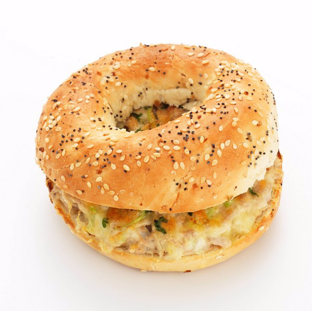 Tuna melt bagel : Stock Photo