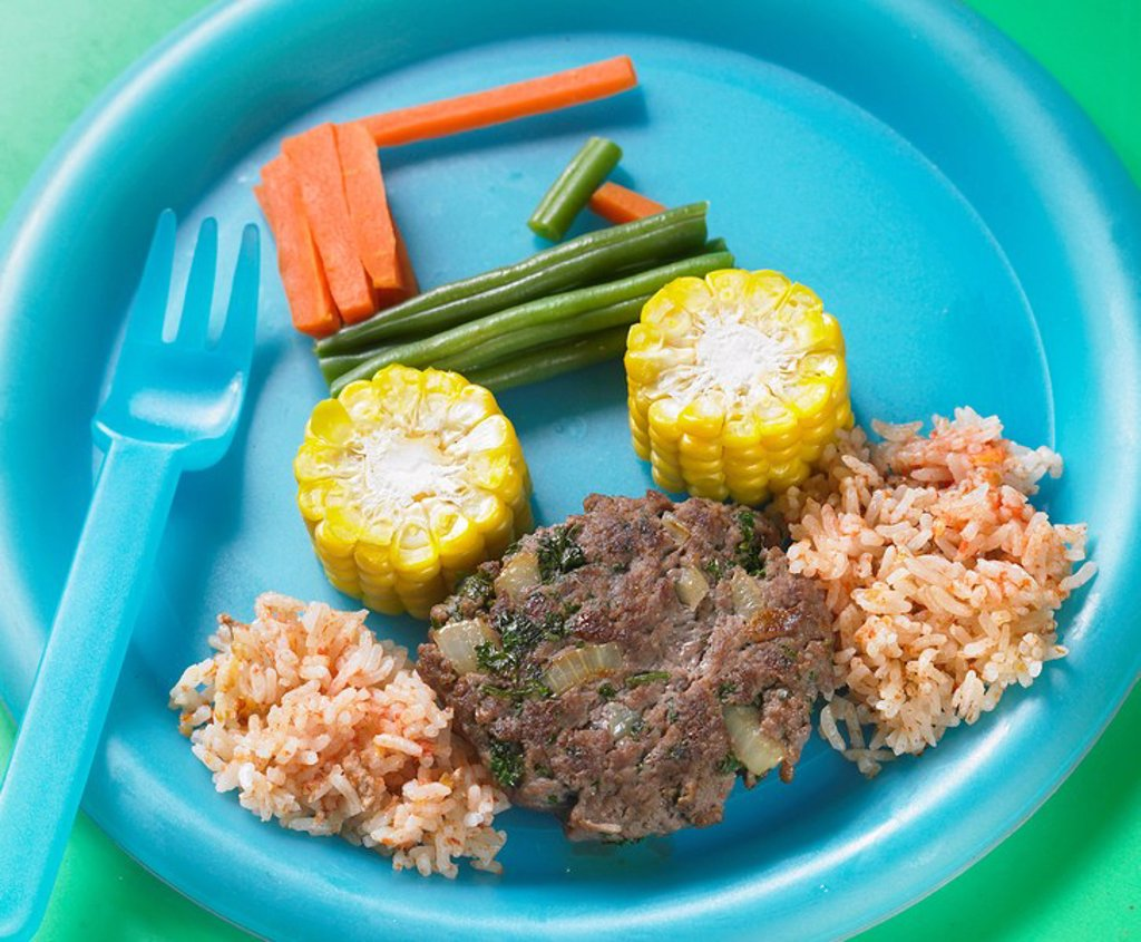 Stock Photo: 1898-25244 Kids home made burger with vegetable car and a rice road _ With Recipe