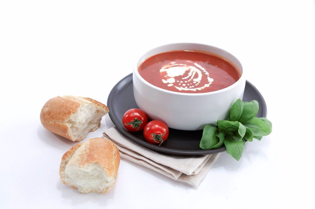 Stock Photo: 1898-25297 Tomato and Basil Soup with Crusty Roll