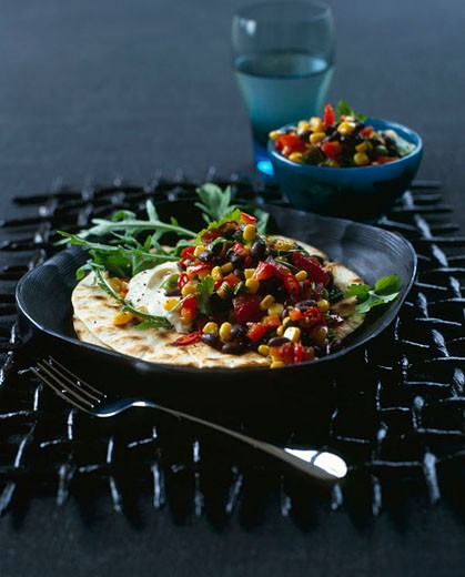 black bean salsa with griddled tortillas - with recipe : Stock Photo