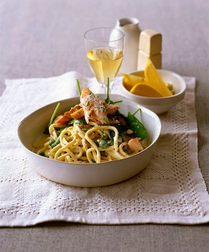 Trout with fettucini pasta : Stock Photo