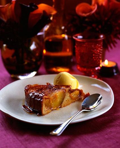 Peach upside down cake : Stock Photo