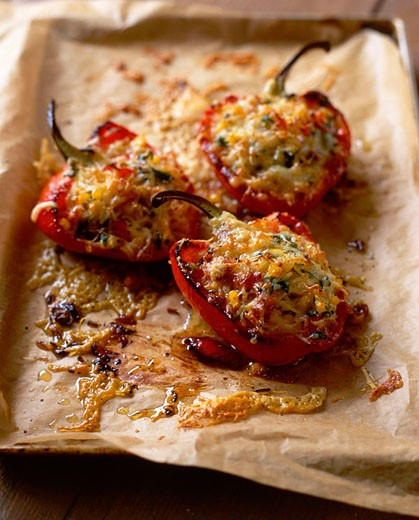 Roasted balsamic red peppers - with recipe : Stock Photo