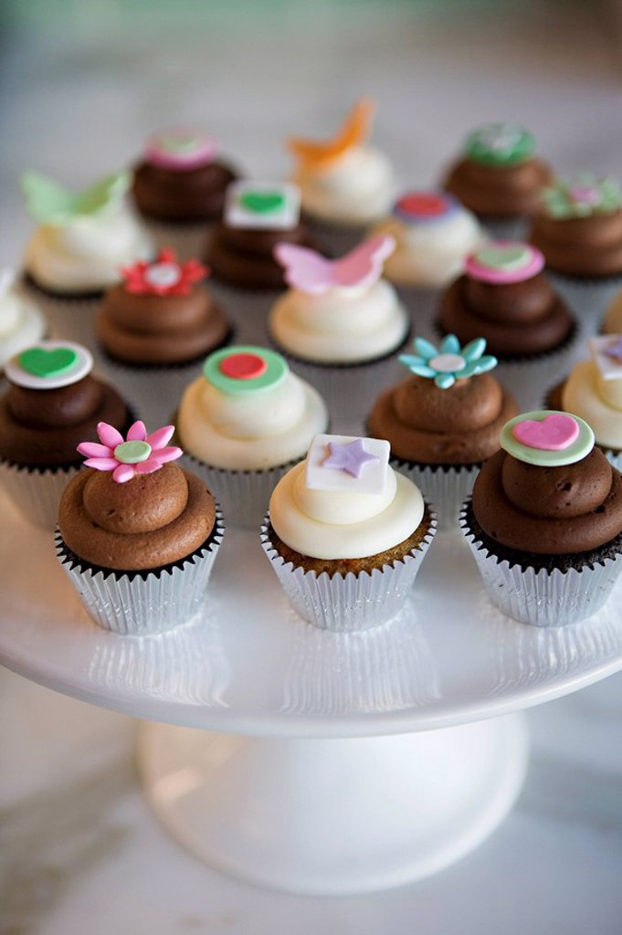 Cupcakes on a cake stand : Stock Photo