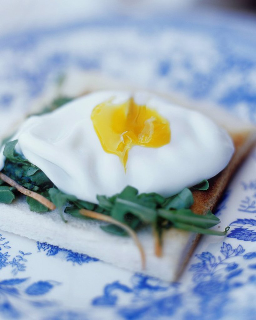 Stock Photo: 1898-29125 Close up of a poached egg on toast with green rocket leaves on a decorative blue china plate.