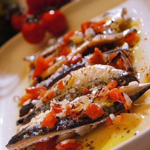 Mackerel in tomato relish : Stock Photo