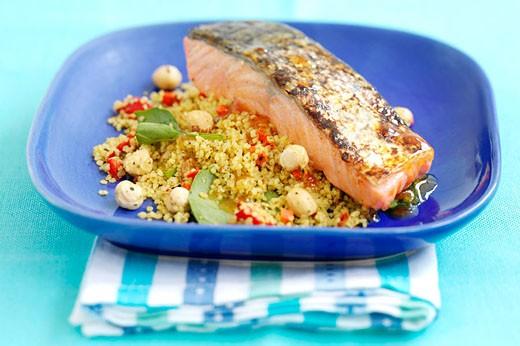 Poached salmon : Stock Photo