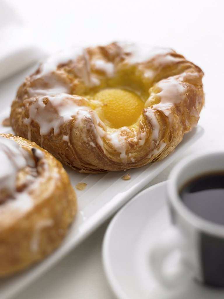 Stock Photo: 1898-3343 Danish Pastry and Espresso