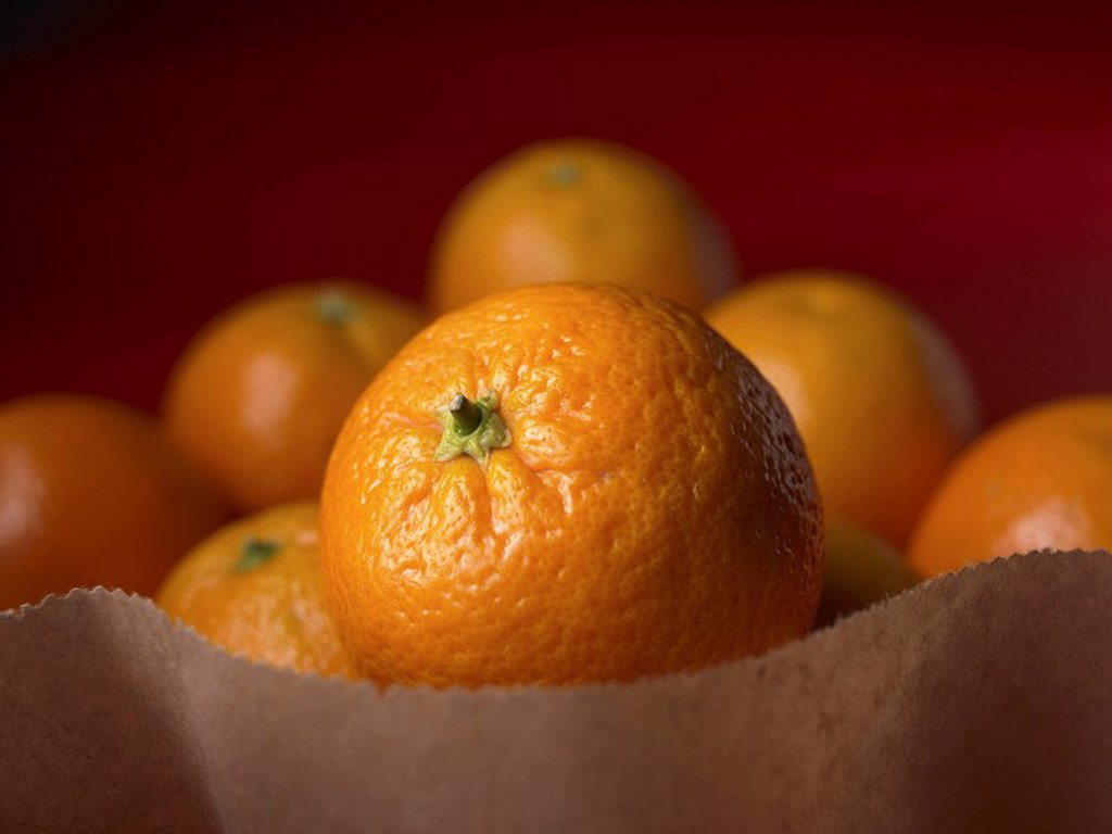 Oranges in a paper bag : Stock Photo
