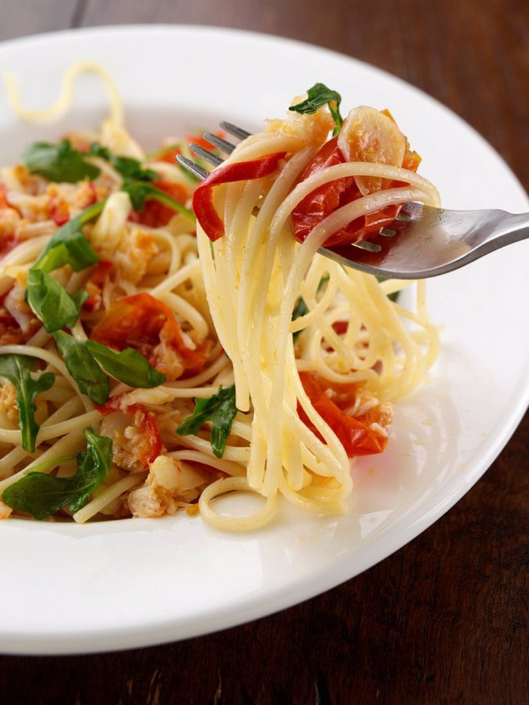 A plate of crab linguini : Stock Photo