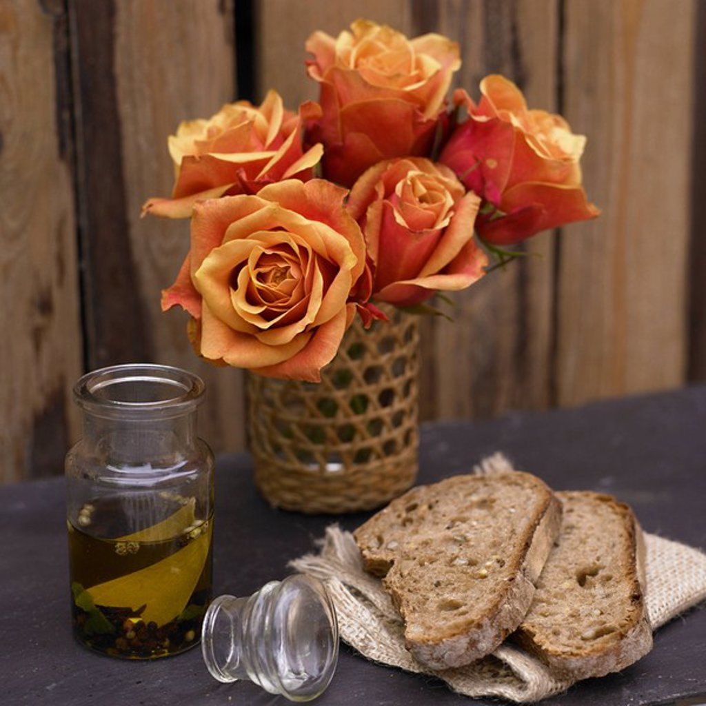 Bread and Olive Oil : Stock Photo