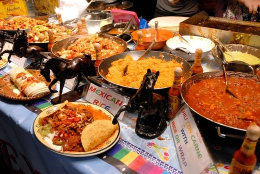 Mexican dishes at the Indian Curry Festival in Brick Lane London,England : Stock Photo