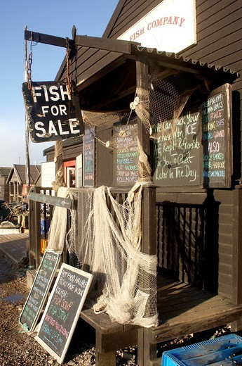 Stock Photo: 1898-44354 fresh fish shop at Southwold harbour, Suffolk