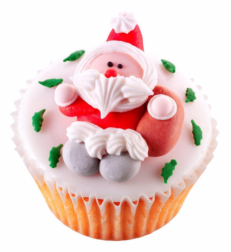 Stock Photo: 1898-45794 Single Christmas Cupcake