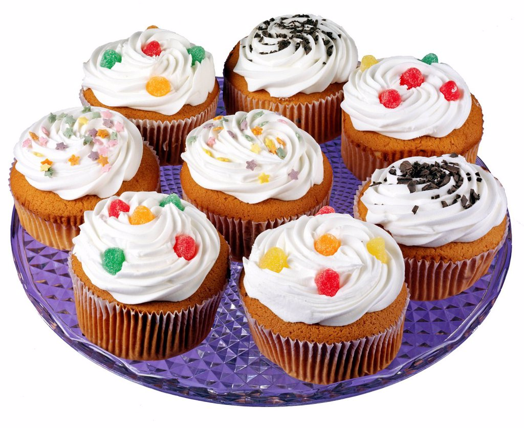 Plate Full Of Iced Cupcakes Or Muffins : Stock Photo
