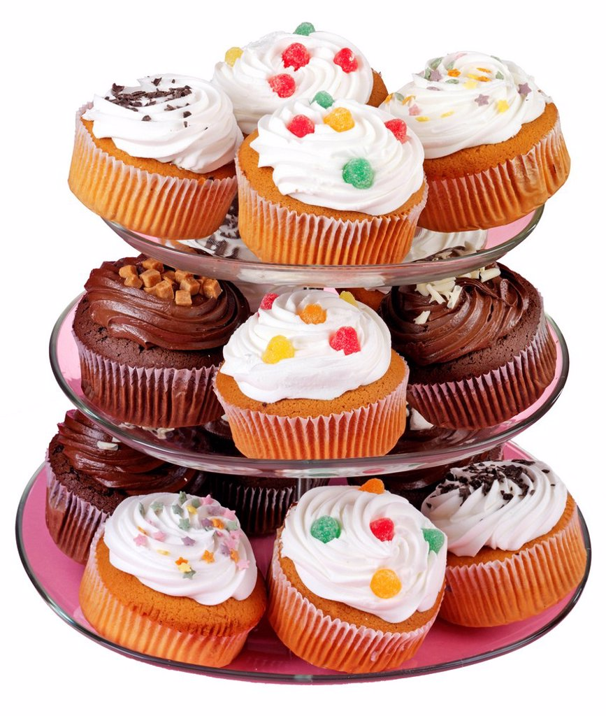Stock Photo: 1898-45812 Cake Stand With Iced Cupcakes Or Muffins