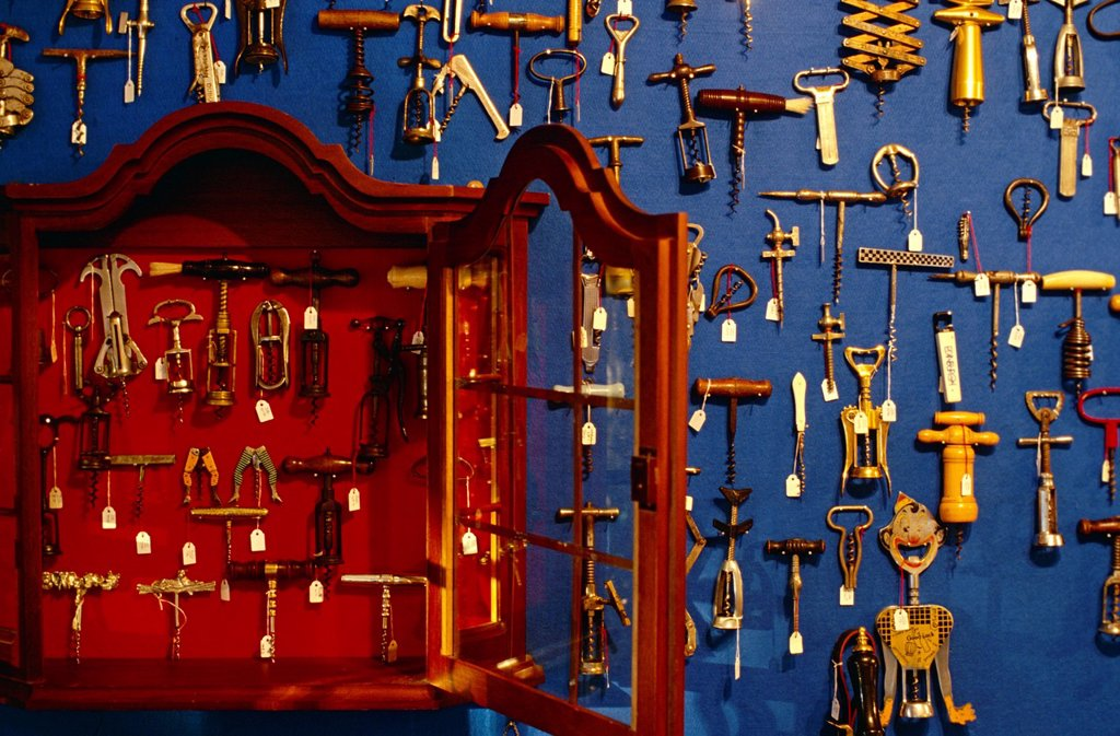 Stock Photo: 1898-47537 Assortment of Corkscrews at a wine museum in South Africa