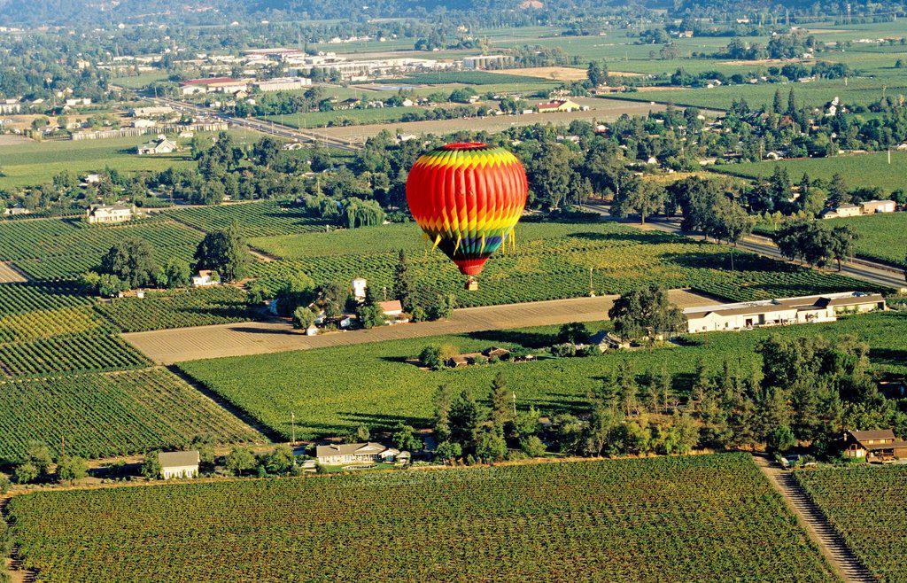Stock Photo: 1898-47575 Hot Air Ballooning, Napa Valley, California, North America