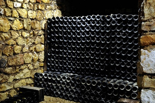 Bottled Wines in the cellar at Domain Bersan in Saint Bris le Vineux Burgundy France : Stock Photo