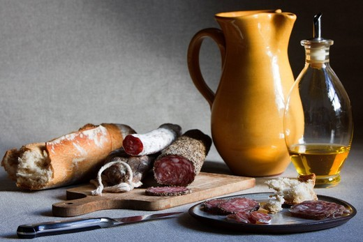 Catalan Saucisson charcuterie selection with bread and olive oil : Stock Photo