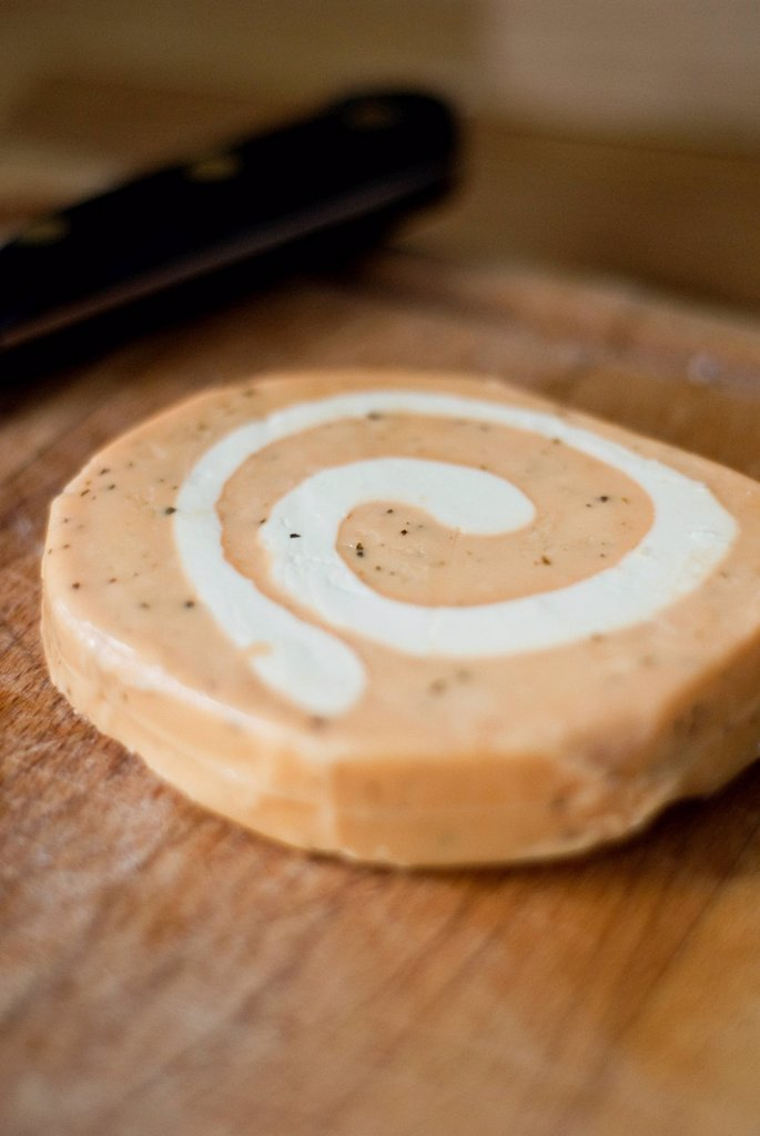 Cheddar with a Swirl of Soft Cheese : Stock Photo