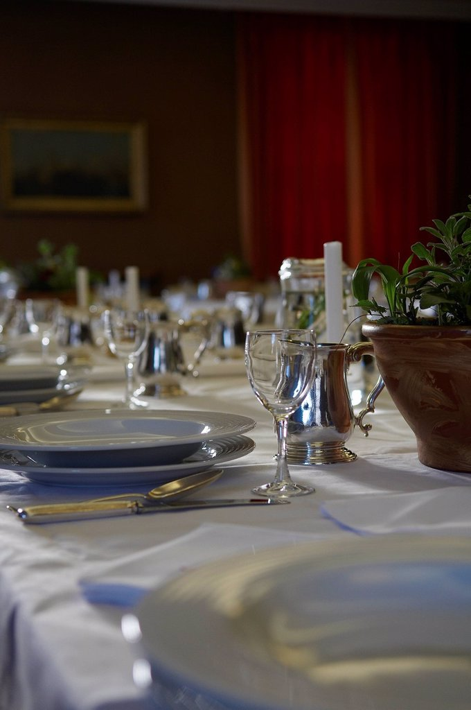 Stock Photo: 1898-52238 Set table at a fine dining restaurant